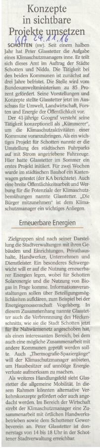 Klimaschutz-Manager Peter Glasstetter im Schottener Umwelt-Ausschuss (Quelle Kreis Anzeiger 24.11.2016)